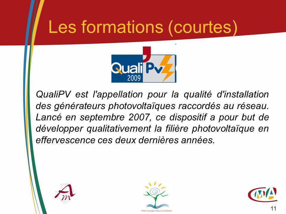 11 Les formations (courtes) QualiPV est l'appellation pour la qualité d'installation des générateurs photovoltaïques raccordés au réseau. Lancé en sep