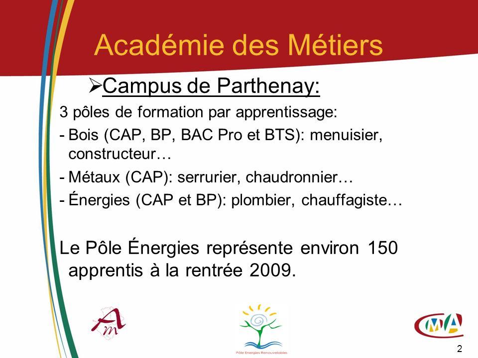 13 Économies dénergies (FEEBât) En 2008, le Campus des Métiers (en partenariat avec lIFRB Poitou-Charentes) obtient les agréments pour animer des modules de formations aux économies dénergies pour les acteurs du Bâtiment, portant sur les équipements techniques (Matériaux de construction, chauffage/climatisation, éclairage…) Les formations (courtes)