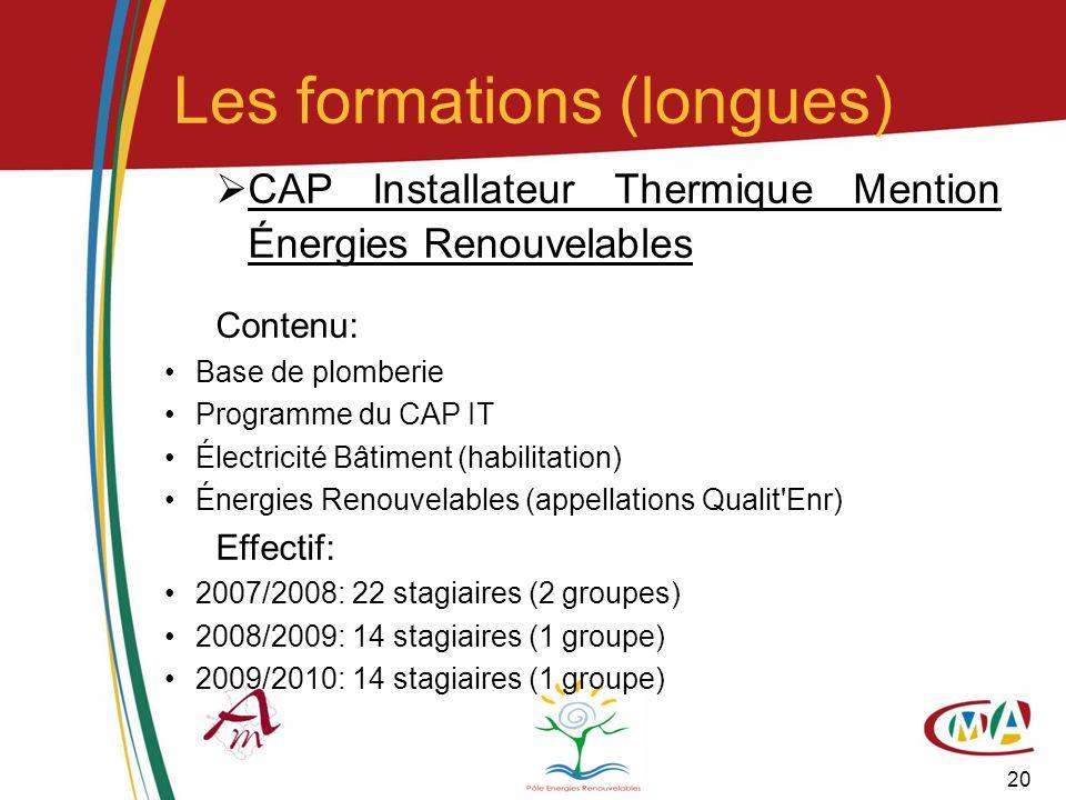 20 CAP Installateur Thermique Mention Énergies Renouvelables Contenu: Base de plomberie Programme du CAP IT Électricité Bâtiment (habilitation) Énergi