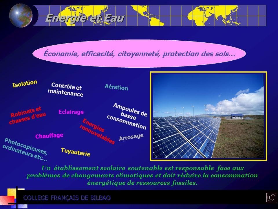 Energie et Eau Économie, efficacité, citoyenneté, protection des sols... Isolation Ampoules de basse consommation Aération Contrôle et maintenance Ene