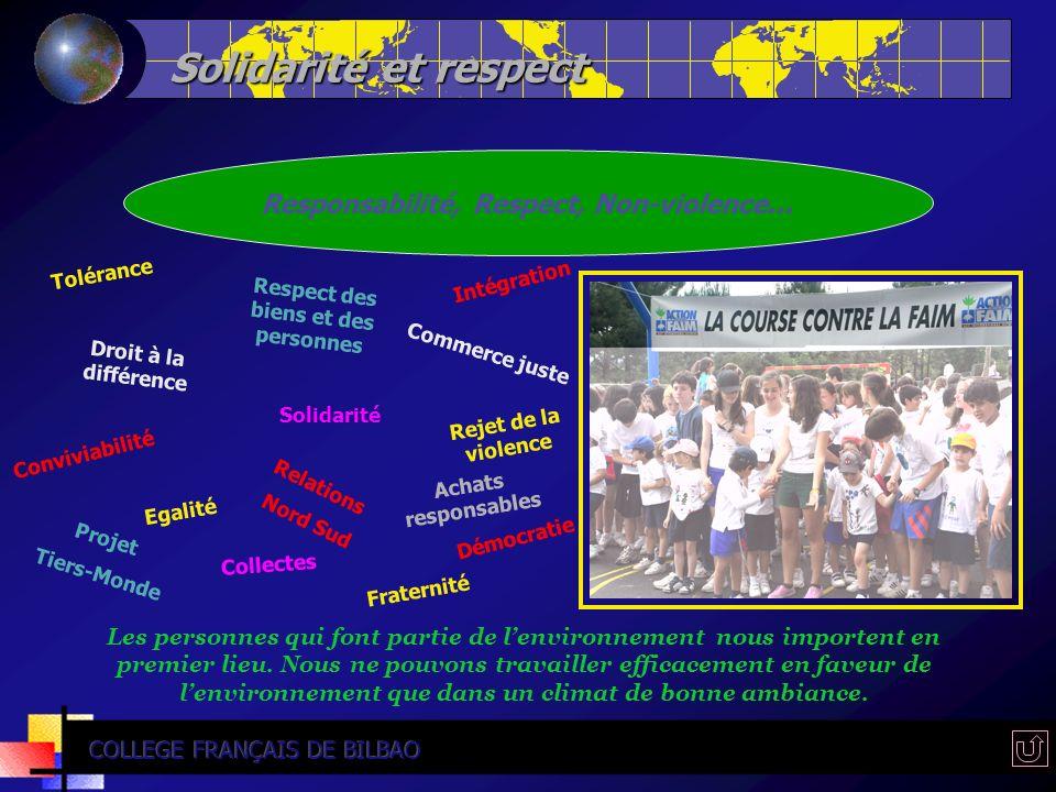 Solidarité et respect Responsabilité, Respect, Non-violence... Tolérance Commerce juste Respect des biens et des personnes Droit à la différence Relat