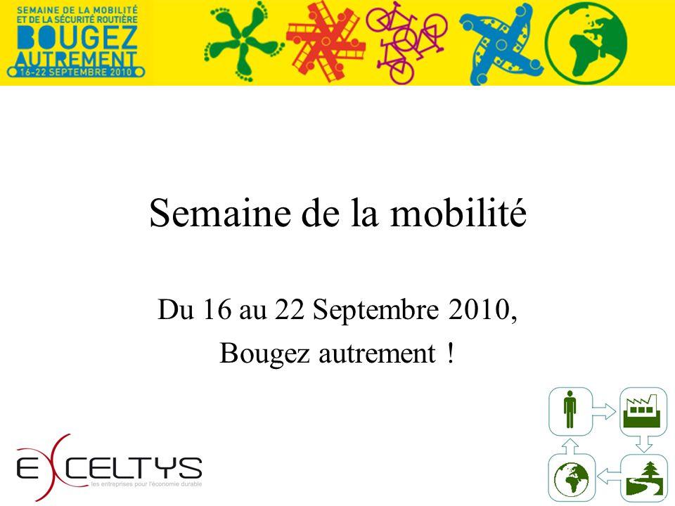 Semaine de la mobilité Du 16 au 22 Septembre 2010, Bougez autrement !