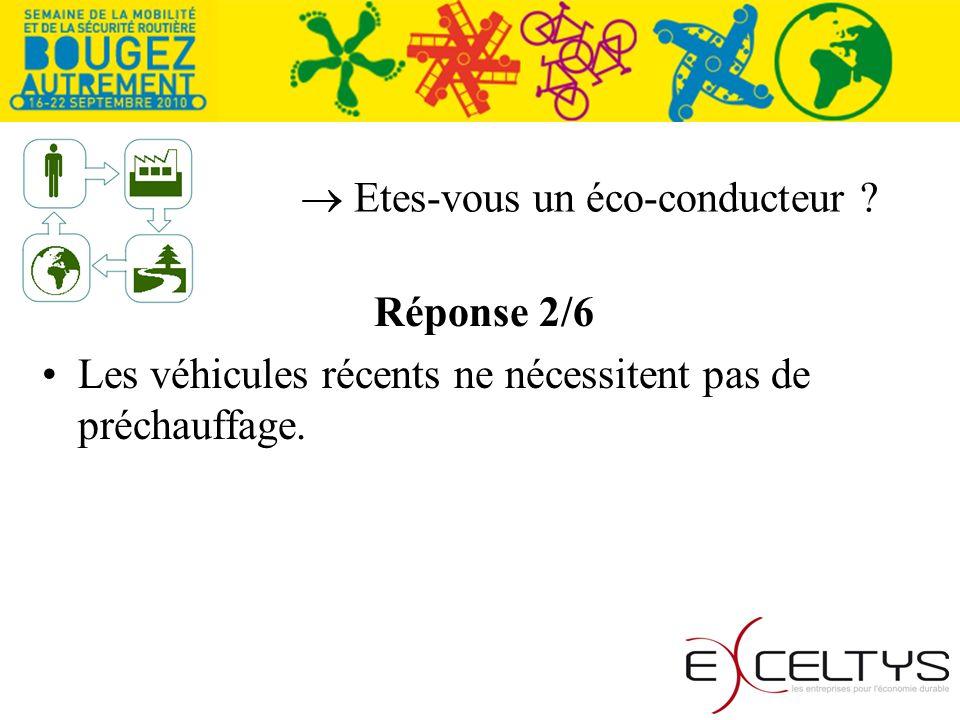 Etes-vous un éco-conducteur Réponse 2/6 Les véhicules récents ne nécessitent pas de préchauffage.