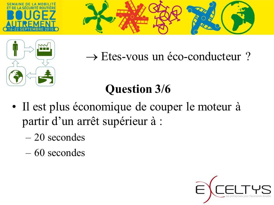Etes-vous un éco-conducteur ? Question 3/6 Il est plus économique de couper le moteur à partir dun arrêt supérieur à : –20 secondes –60 secondes