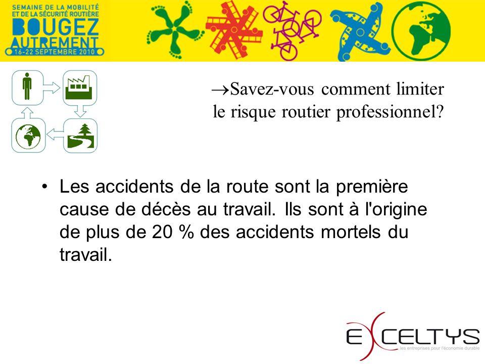 Les accidents de la route sont la première cause de décès au travail. Ils sont à l'origine de plus de 20 % des accidents mortels du travail.