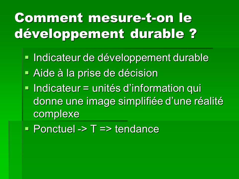 Comment mesure-t-on le développement durable ? Indicateur de développement durable Indicateur de développement durable Aide à la prise de décision Aid