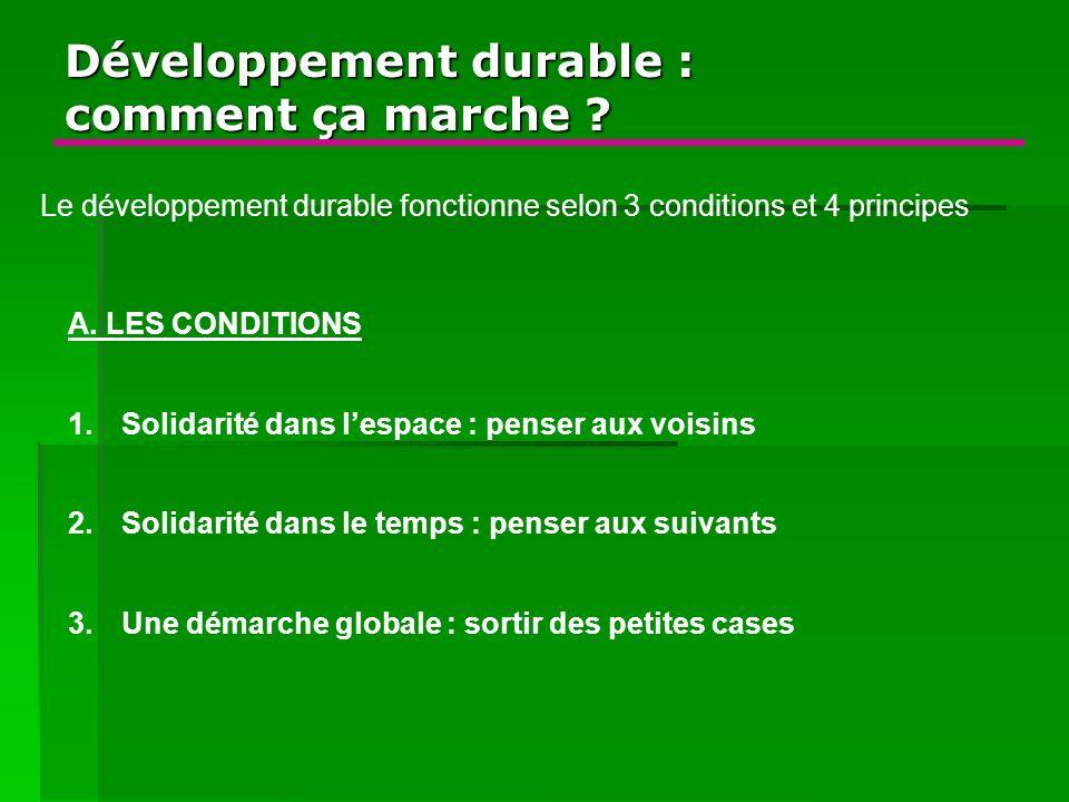 Développement durable : comment ça marche ? A. LES CONDITIONS 1.Solidarité dans lespace : penser aux voisins 2.Solidarité dans le temps : penser aux s