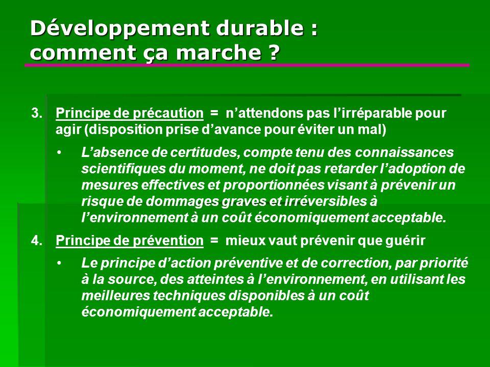 Développement durable : comment ça marche ? 3.Principe de précaution = nattendons pas lirréparable pour agir (disposition prise davance pour éviter un