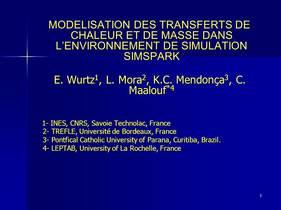 1 MODELISATION DES TRANSFERTS DE CHALEUR ET DE MASSE DANS LENVIRONNEMENT DE SIMULATION SIMSPARK MODELISATION DES TRANSFERTS DE CHALEUR ET DE MASSE DAN