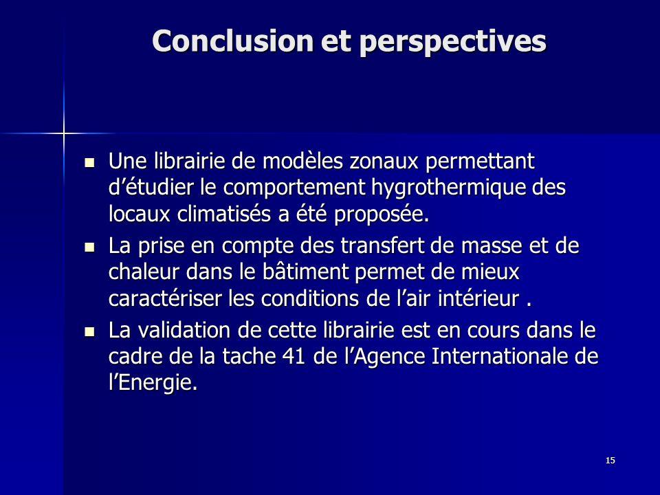 15 Conclusion et perspectives Une librairie de modèles zonaux permettant détudier le comportement hygrothermique des locaux climatisés a été proposée.