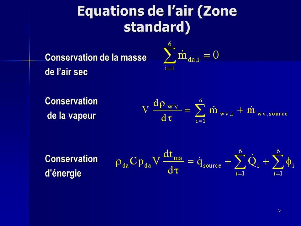5 Equations de lair (Zone standard) Conservation de la masse de lair sec Conservation de la vapeur de la vapeurConservationdénergie