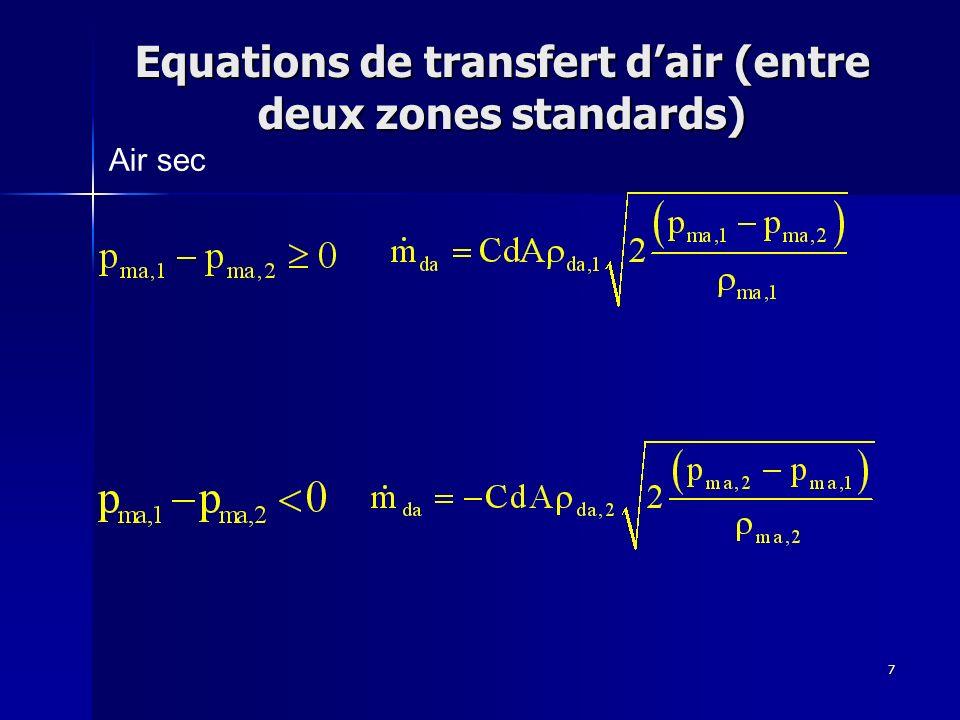 7 Equations de transfert dair (entre deux zones standards) Air sec