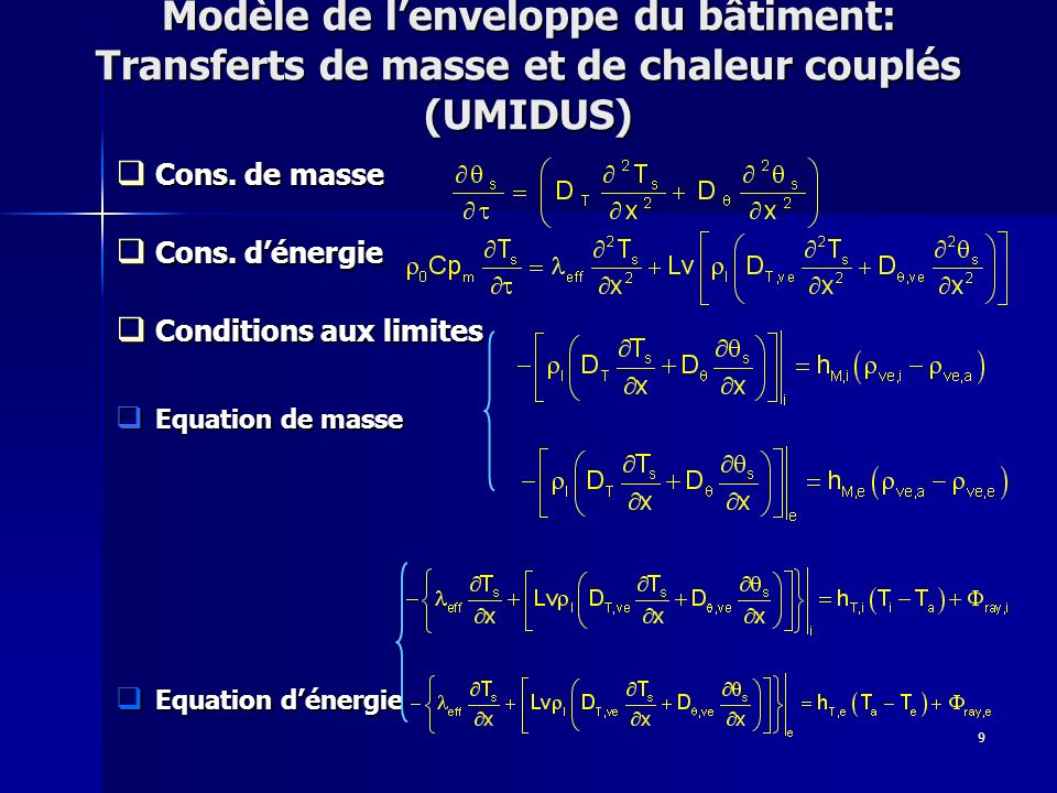 9 Modèle de lenveloppe du bâtiment: Transferts de masse et de chaleur couplés (UMIDUS) Cons. de masse Cons. de masse Cons. dénergie Cons. dénergie Con