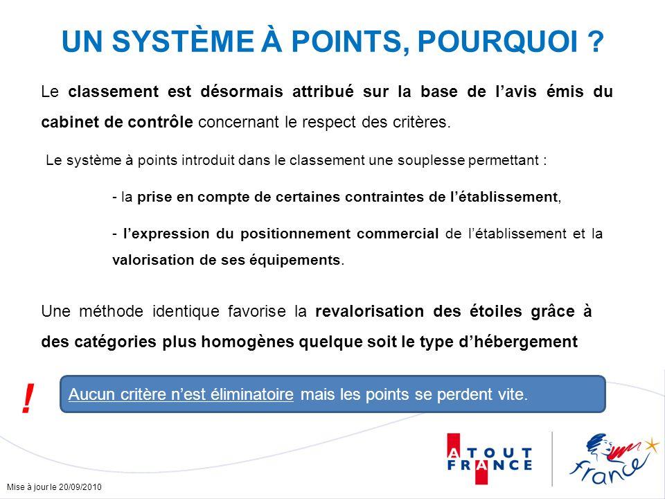 Mise à jour le 20/09/2010 UN SYSTÈME À POINTS, POURQUOI ? Aucun critère nest éliminatoire mais les points se perdent vite. ! Le classement est désorma