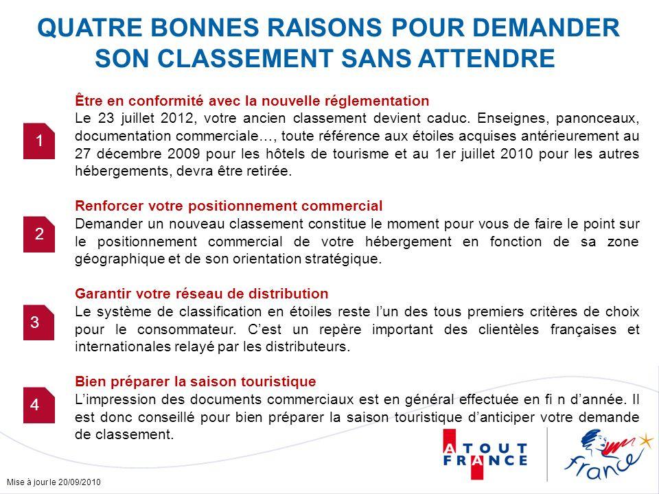 Mise à jour le 20/09/2010 QUATRE BONNES RAISONS POUR DEMANDER SON CLASSEMENT SANS ATTENDRE Être en conformité avec la nouvelle réglementation Le 23 ju