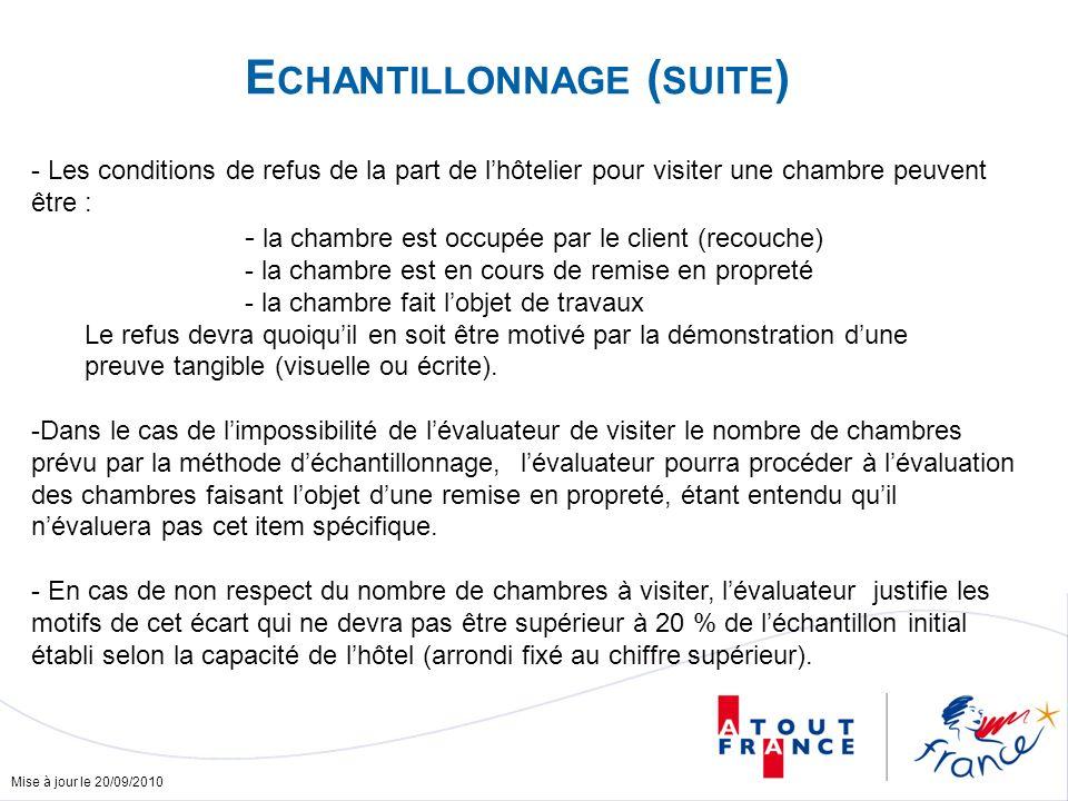 Mise à jour le 20/09/2010 E CHANTILLONNAGE ( SUITE ) - Les conditions de refus de la part de lhôtelier pour visiter une chambre peuvent être : - la ch