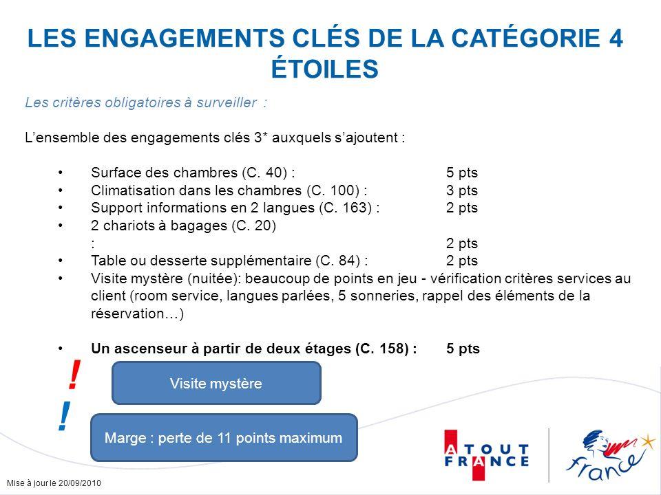 Mise à jour le 20/09/2010 Les critères obligatoires à surveiller : Lensemble des engagements clés 3* auxquels sajoutent : Surface des chambres (C. 40)
