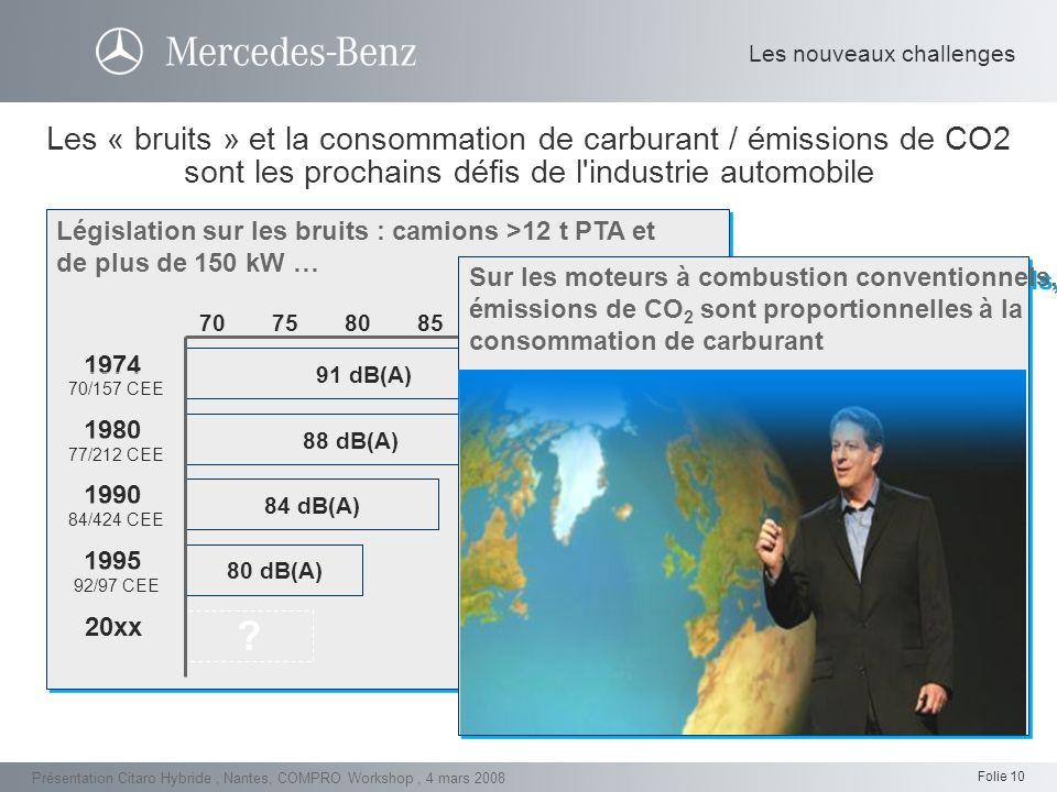 Folie 10 Présentation Citaro Hybride, Nantes, COMPRO Workshop, 4 mars 2008 Les « bruits » et la consommation de carburant / émissions de CO2 sont les