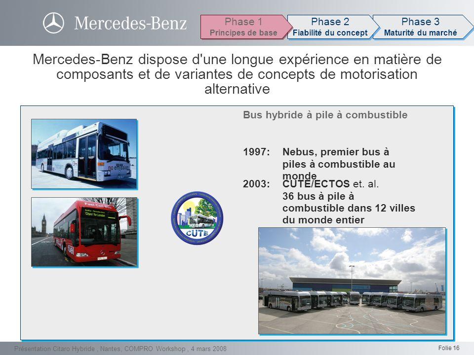 Folie 16 Présentation Citaro Hybride, Nantes, COMPRO Workshop, 4 mars 2008 Citaro Hybride Mercedes-Benz dispose d'une longue expérience en matière de