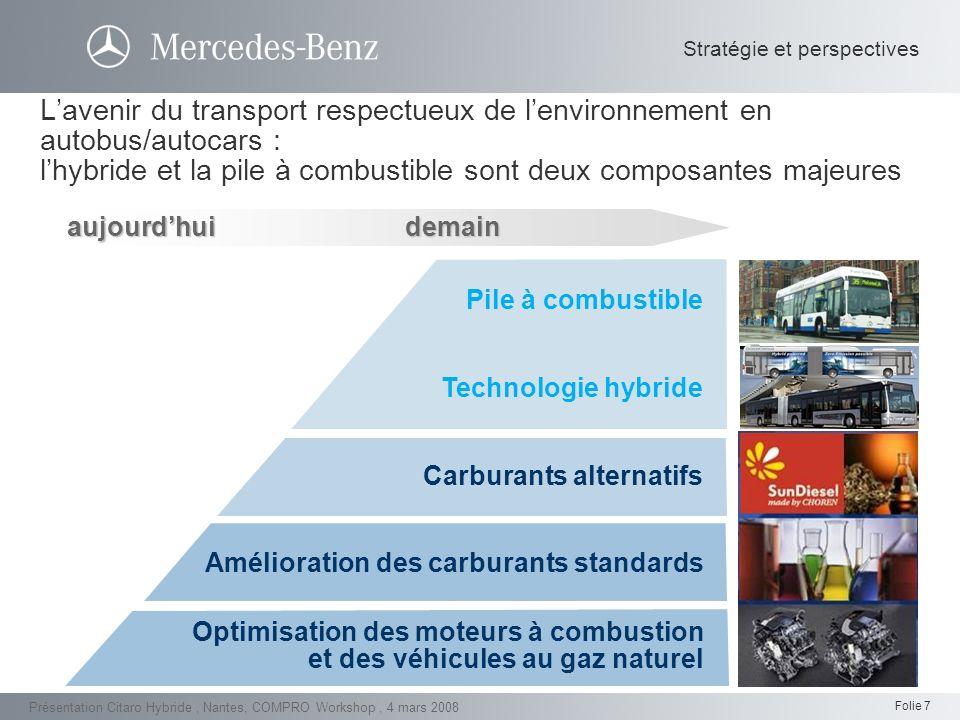 Folie 8 Présentation Citaro Hybride, Nantes, COMPRO Workshop, 4 mars 2008 Emissions de particules (PM) dans différents cycles de conduite [g/kWh] 0 0,05 0,10 0,15 Emissions de PM Marque A (Euro 4, SCR) Marque B (Euro 4, EGR) MB Citaro (Euro 4, BlueTec ® ) Marque B (Euro 4, EGR) Helsinki 2BraunschweigHelsinki 3 0,20 Emissions de NO x dans différents cycles de conduite [g/kWh] 0 2 4 6 8 10 12 Emissions de NO x Marque A (Euro 4, SCR) Marque B (Euro 4, EGR) MB Citaro (Euro 4, BlueTec ® ) Marque B (Euro 4, EGR) Helsinki 2BraunschweigHelsinki 3 Démarche écologique en vue d une réduction des émissions de NOx- et de particules fines : la capacité de fonctionnement du BlueTec® en milieu urbain est éprouvée Citaro Diesel: SCR/BlueTec®