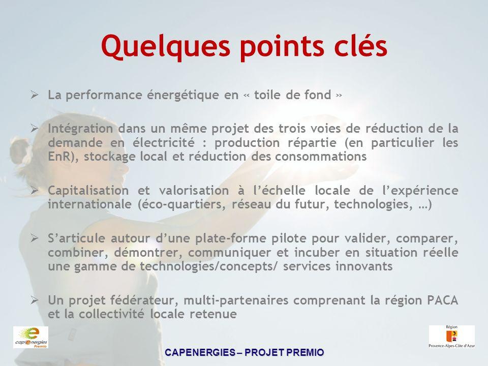 CAPENERGIES – PROJET PREMIO Calendrier PREMIO Durée totale : 3 ans, en deux phases 1.Phase dÉtudes : janvier 2008 jusquà mi 2009.