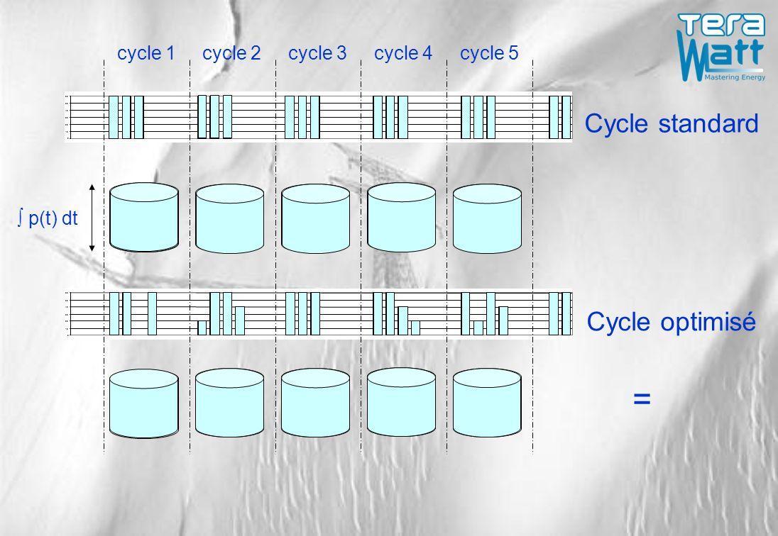 0 10 20 30 40 50 60 0 10 20 30 40 50 60 cycle 1cycle 2cycle 3cycle 4cycle 5 Cycle standard Cycle optimisé p(t) dt =