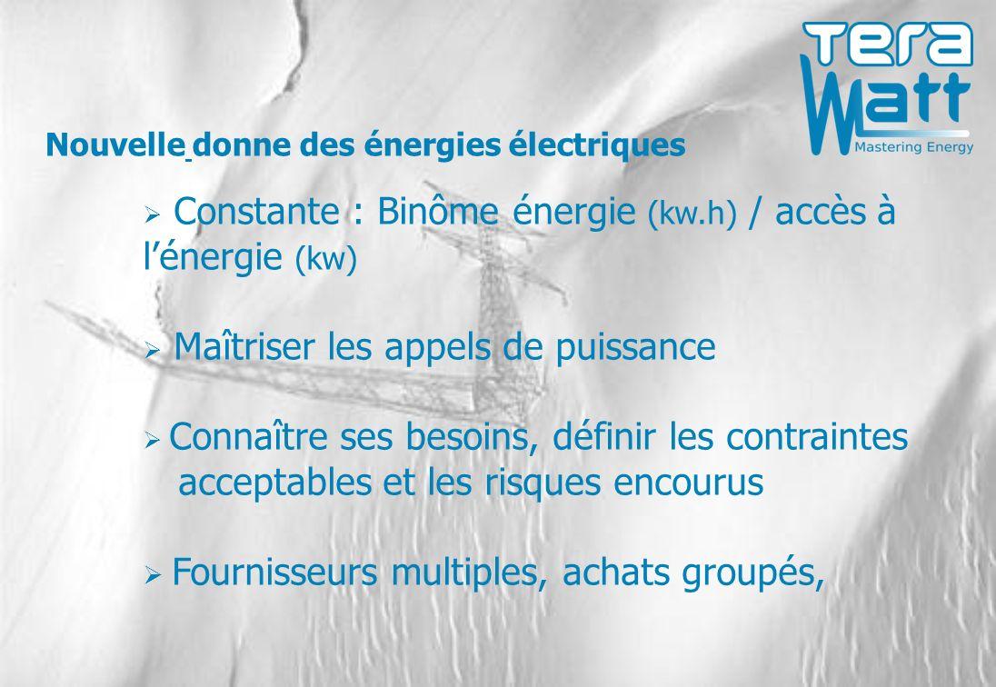 Constante : Binôme énergie (kw.h) / accès à lénergie (kw) Maîtriser les appels de puissance Connaître ses besoins, définir les contraintes acceptables et les risques encourus Fournisseurs multiples, achats groupés, Nouvelle donne des énergies électriques