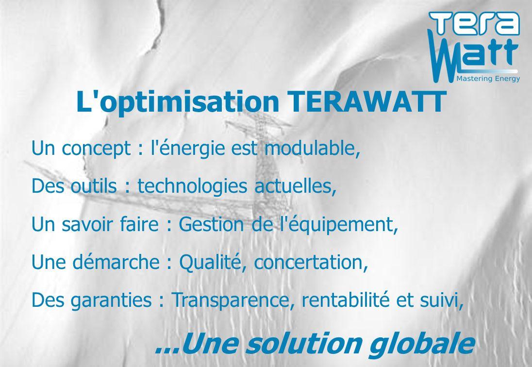L optimisation TERAWATT Un concept : l énergie est modulable, Des outils : technologies actuelles, Un savoir faire : Gestion de l équipement, Une démarche : Qualité, concertation, Des garanties : Transparence, rentabilité et suivi,...Une solution globale