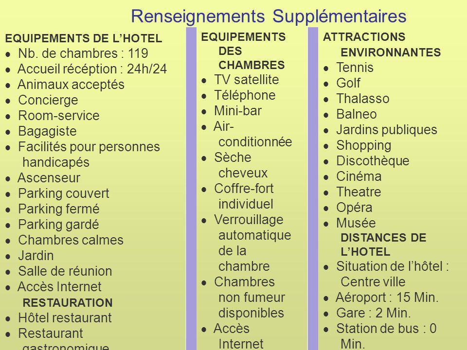 Renseignements Supplémentaires EQUIPEMENTS DE LHOTEL Nb.