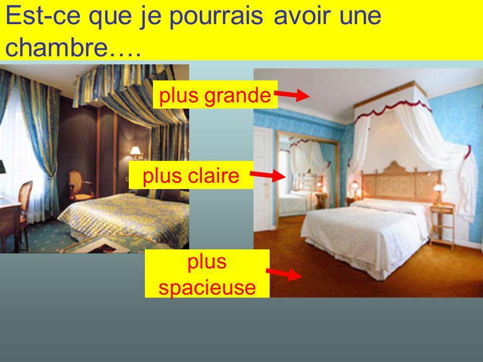 Est-ce que je pourrais avoir une chambre…. plus grande plus claire plus spacieuse