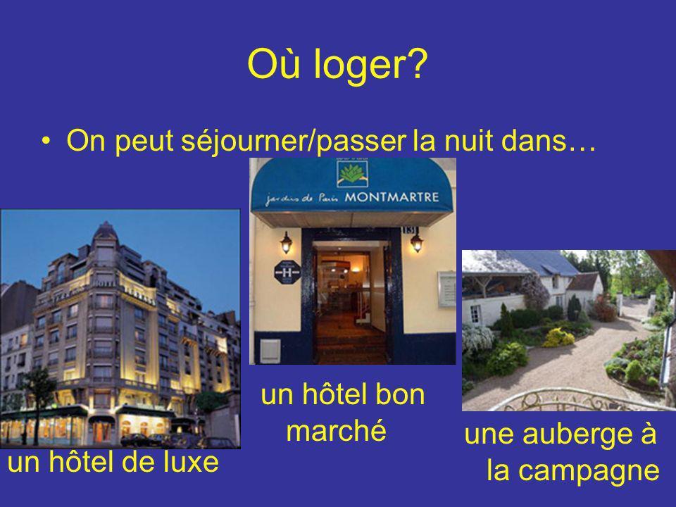 Où loger? On peut séjourner/passer la nuit dans… un hôtel de luxe un hôtel bon marché une auberge à la campagne