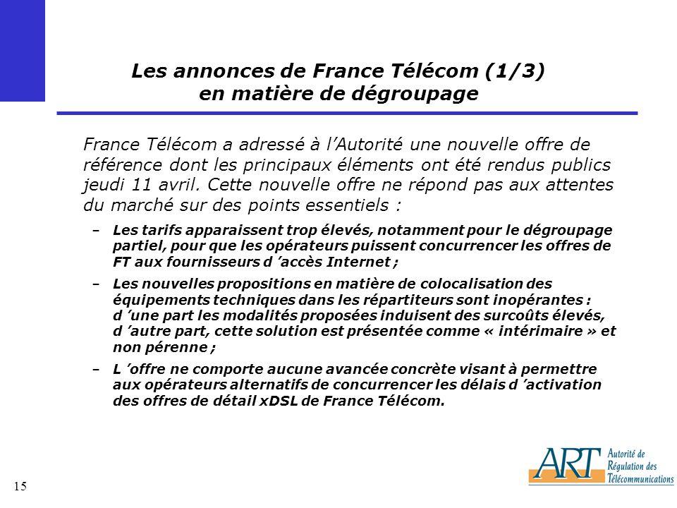 15 Les annonces de France Télécom (1/3) en matière de dégroupage France Télécom a adressé à lAutorité une nouvelle offre de référence dont les principaux éléments ont été rendus publics jeudi 11 avril.