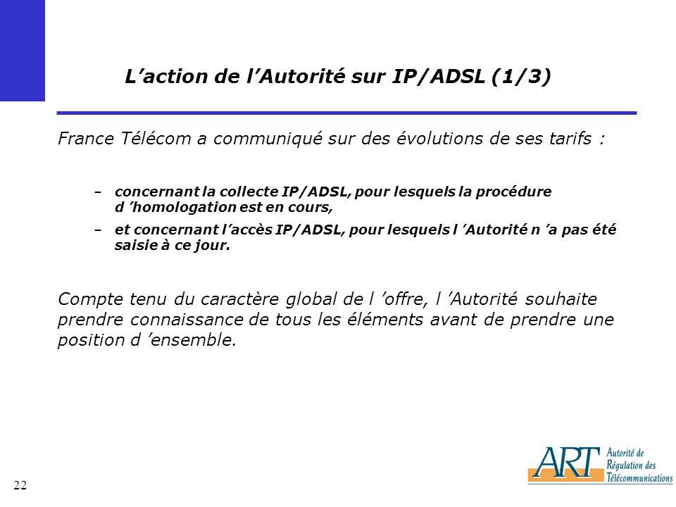 22 Laction de lAutorité sur IP/ADSL (1/3) France Télécom a communiqué sur des évolutions de ses tarifs : –concernant la collecte IP/ADSL, pour lesquels la procédure d homologation est en cours, –et concernant laccès IP/ADSL, pour lesquels l Autorité n a pas été saisie à ce jour.
