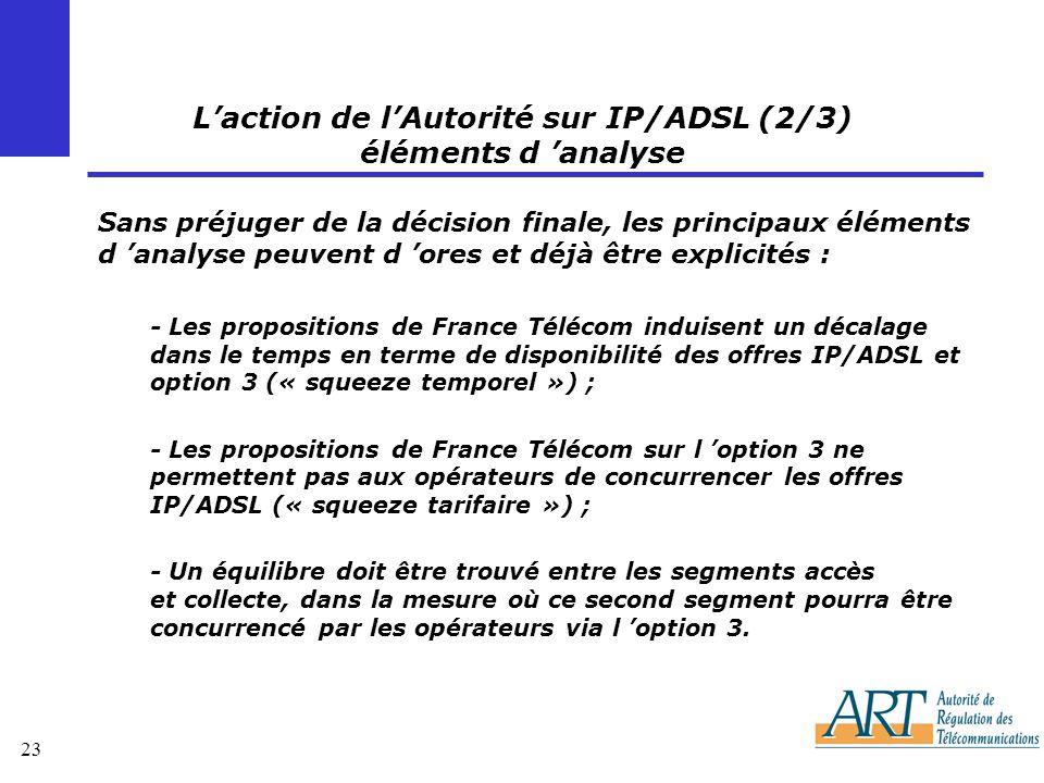 23 Laction de lAutorité sur IP/ADSL (2/3) éléments d analyse Sans préjuger de la décision finale, les principaux éléments d analyse peuvent d ores et déjà être explicités : - Les propositions de France Télécom induisent un décalage dans le temps en terme de disponibilité des offres IP/ADSL et option 3 (« squeeze temporel ») ; - Les propositions de France Télécom sur l option 3 ne permettent pas aux opérateurs de concurrencer les offres IP/ADSL (« squeeze tarifaire ») ; - Un équilibre doit être trouvé entre les segments accès et collecte, dans la mesure où ce second segment pourra être concurrencé par les opérateurs via l option 3.