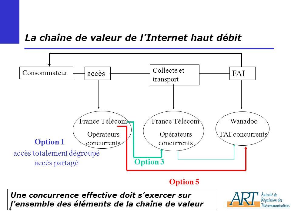 5 Internaute Opérateur tiers FAI Pack ADSL IP/ADSL : accès + collecte (option 5) France Télécom Dégroupage (option 1) Offre concurrente dIP/ADSL Description de la chaîne de la valeur (1/5) schéma fonctionnel : le pack ADSL Connect ATM (option 3) Le client achète au FAI lensemble accès ADSL + abonnement ADSL