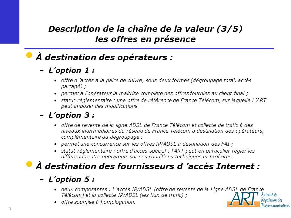 7 Description de la chaîne de la valeur (3/5) les offres en présence À destination des opérateurs : –Loption 1 : offre d accès à la paire de cuivre, sous deux formes (dégroupage total, accès partagé) ; permet à lopérateur la maîtrise complète des offres fournies au client final ; statut réglementaire : une offre de référence de France Télécom, sur laquelle l ART peut imposer des modifications –Loption 3 : offre de revente de la ligne ADSL de France Télécom et collecte de trafic à des niveaux intermédiaires du réseau de France Télécom à destination des opérateurs, complémentaire du dégroupage ; permet une concurrence sur les offres IP/ADSL à destination des FAI ; statut réglementaire : offre daccès spécial ; lART peut en particulier régler les différends entre opérateurs sur ses conditions techniques et tarifaires.