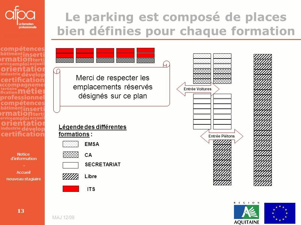 Notice dinformation – Accueil nouveau stagiaire MAJ 12/09 13 Le parking est composé de places bien définies pour chaque formation Merci de respecter l