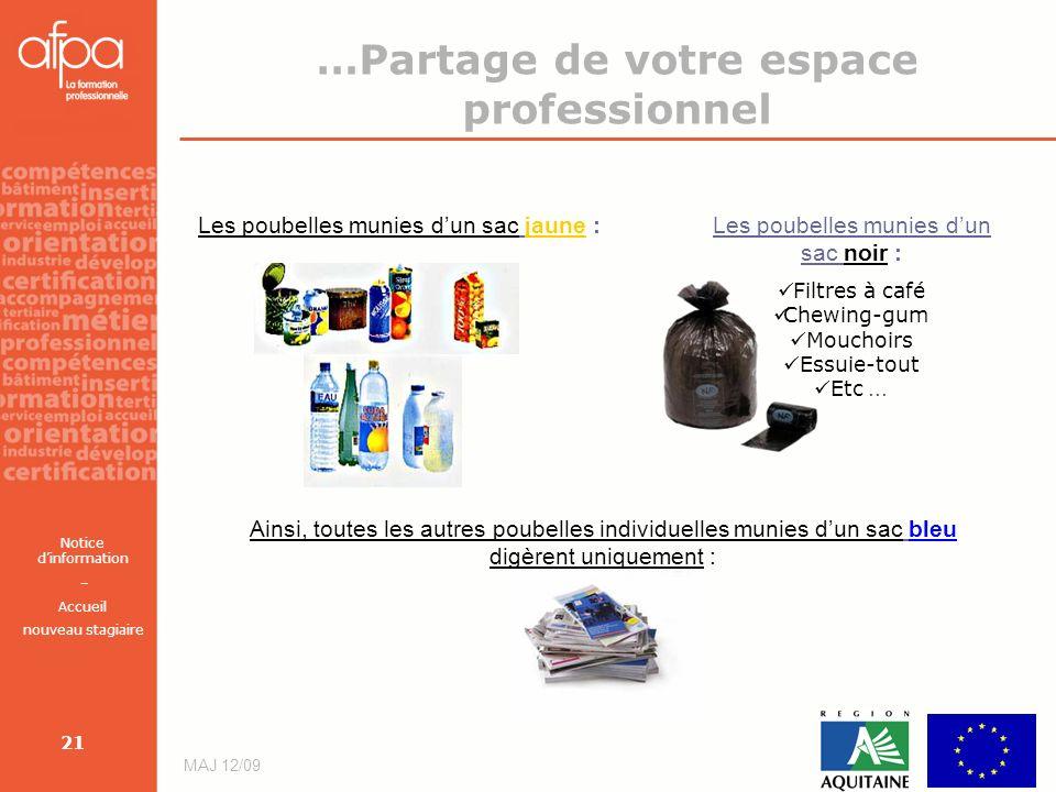 Notice dinformation – Accueil nouveau stagiaire MAJ 12/09 21 Les poubelles munies dun sac jaune :Les poubelles munies dun sac noir : Filtres à café Ch