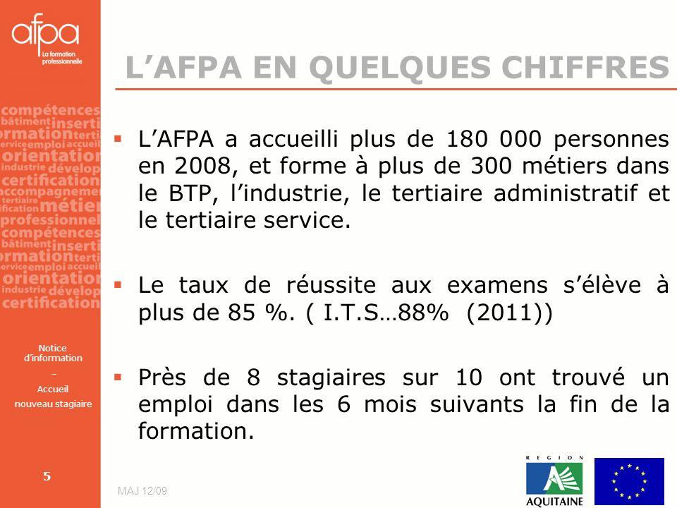 Notice dinformation – Accueil nouveau stagiaire MAJ 12/09 5 LAFPA EN QUELQUES CHIFFRES LAFPA a accueilli plus de 180 000 personnes en 2008, et forme à