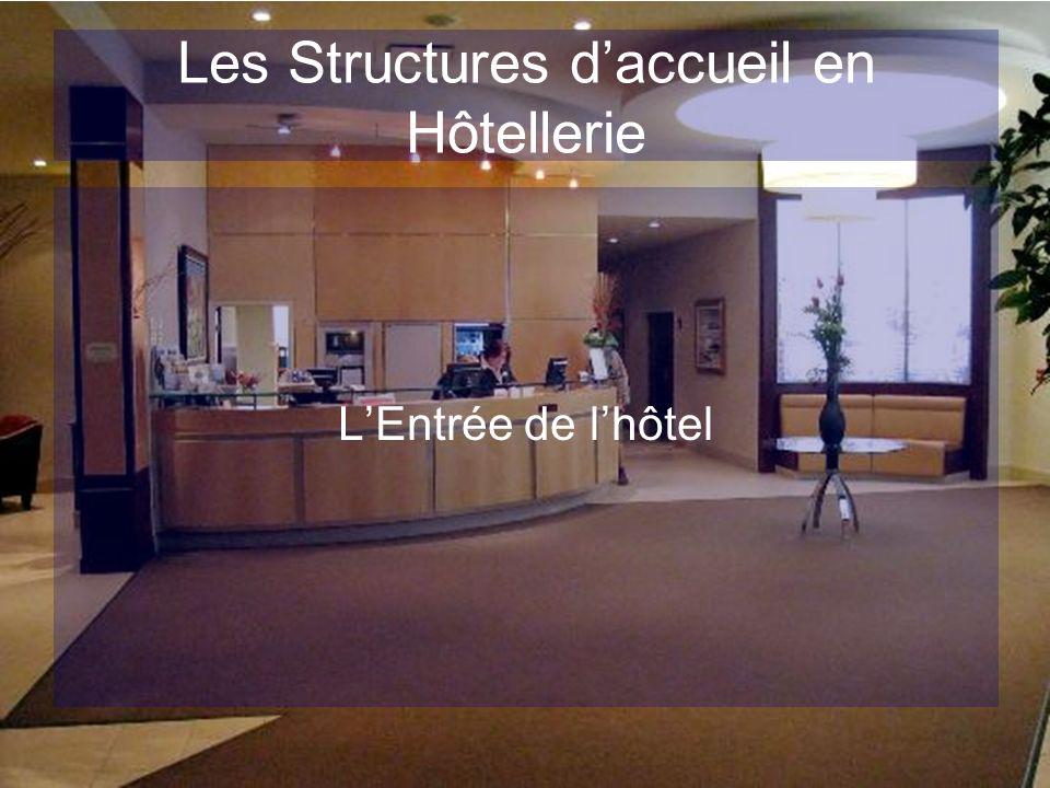 Les Structures daccueil en Hôtellerie Elle doit être: Identifiable à distance,elle distingue lhôtel,flatte le client et assure la transition extérieur/intérieur.