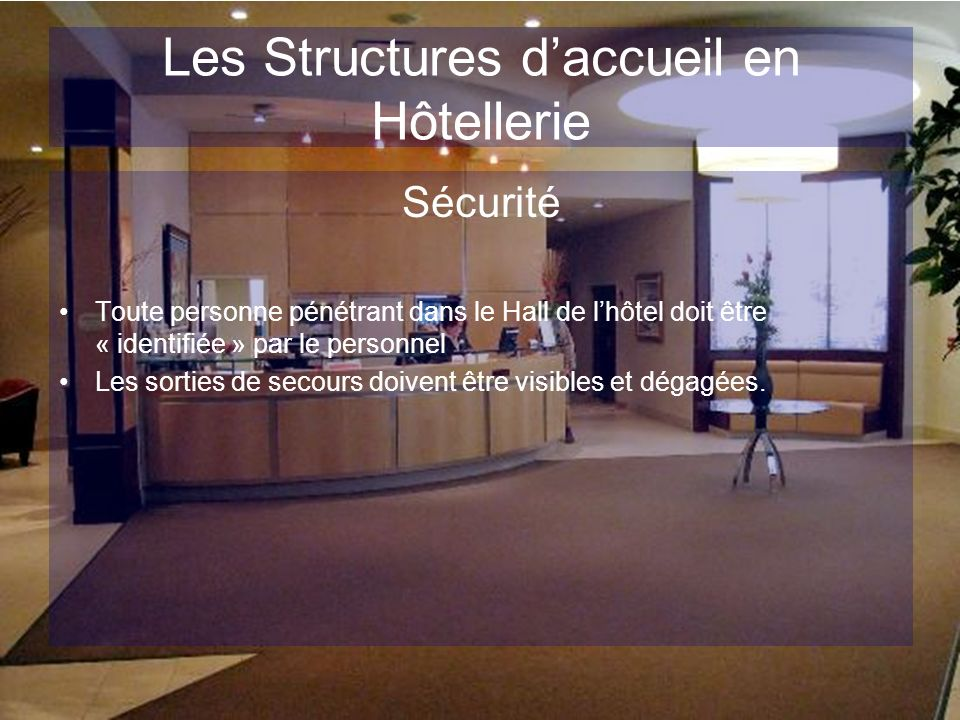 Les Structures daccueil en Hôtellerie Sécurité Toute personne pénétrant dans le Hall de lhôtel doit être « identifiée » par le personnel Les sorties d