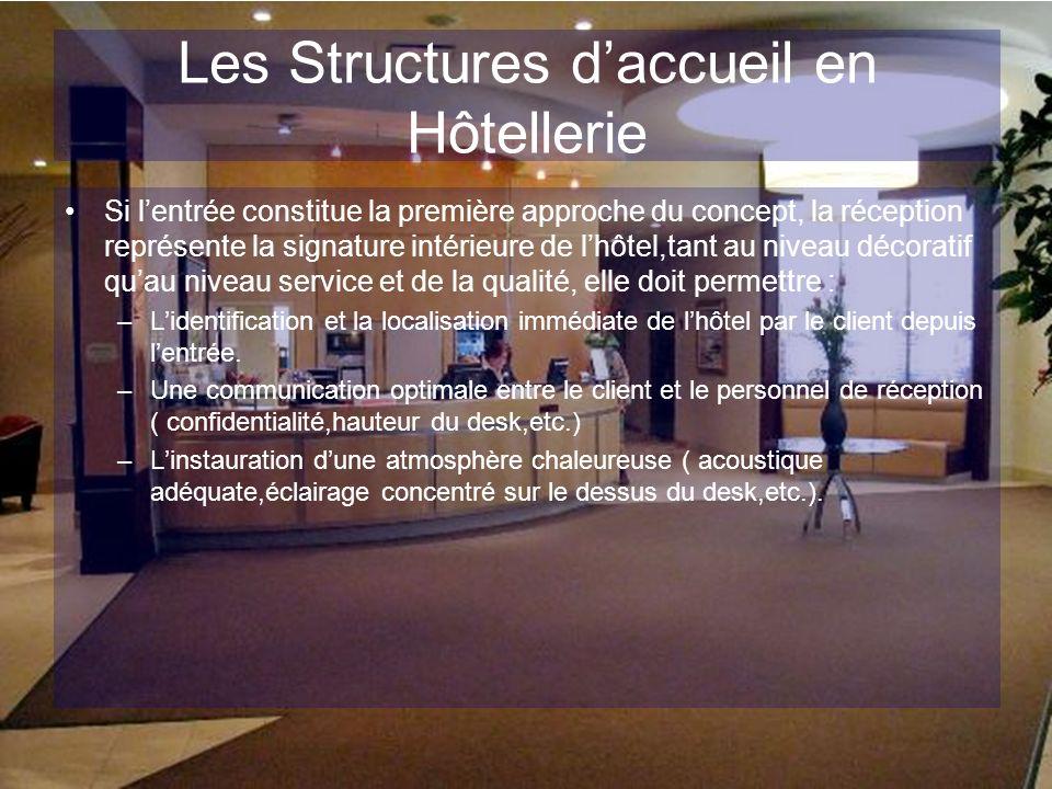 Les Structures daccueil en Hôtellerie Si lentrée constitue la première approche du concept, la réception représente la signature intérieure de lhôtel,