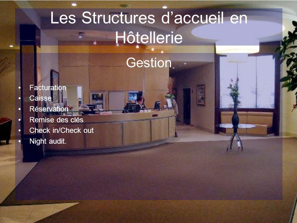 Les Structures daccueil en Hôtellerie Gestion Facturation Caisse Réservation Remise des clés Check in/Check out Night audit.