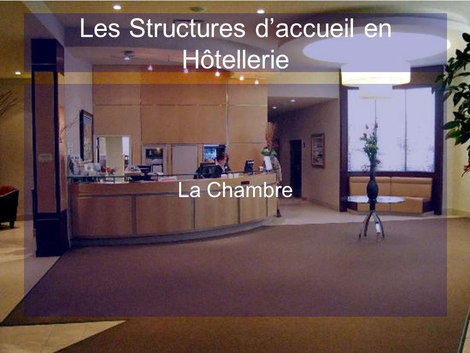 Les Structures daccueil en Hôtellerie Définition Le Produit chambre est utilisé au sens commercial, il représente une valeur marchande aux yeux de lhôtelier et du client en fonction de la réponse apportée à leurs attentes en termes de « services rendus »