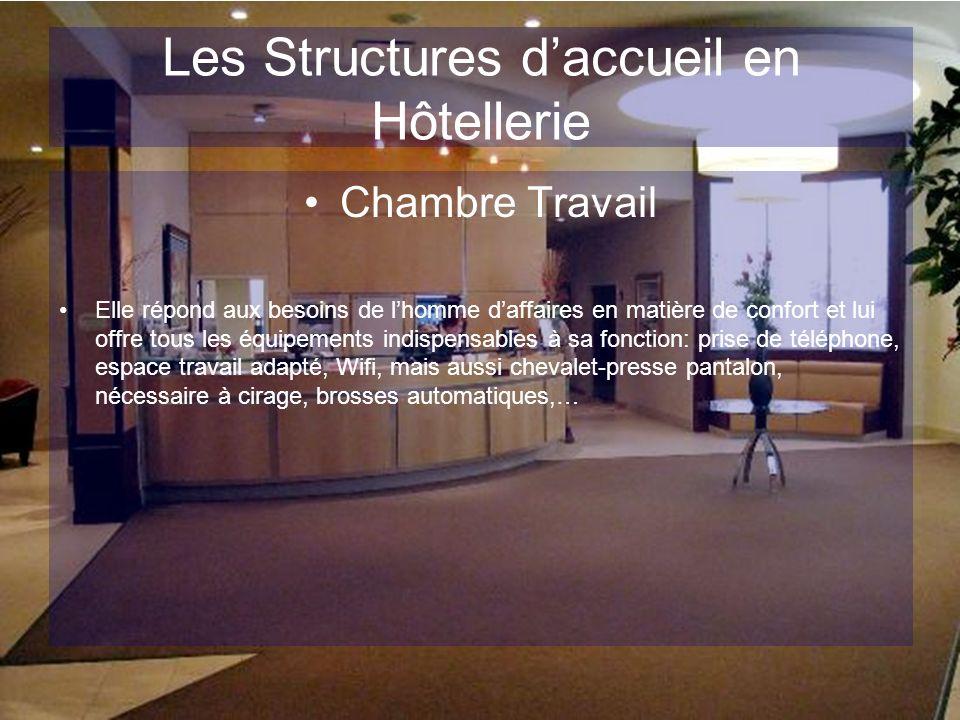 Les Structures daccueil en Hôtellerie Ainsi, on détermine 3 zones au sein de la chambres: –La zone accueil –La zone sommeil/détente –La zone sanitaire