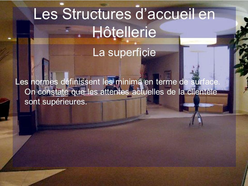Les Structures daccueil en Hôtellerie La superficie Les normes définissent les minima en terme de surface. On constate que les attentes actuelles de l