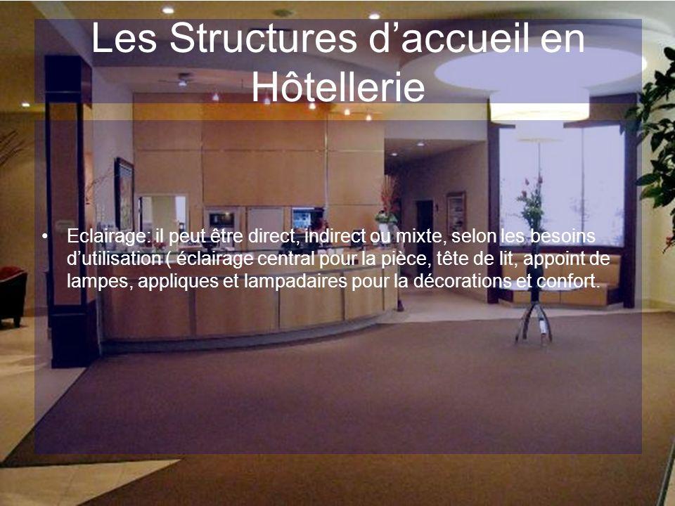 Les Structures daccueil en Hôtellerie Eclairage: il peut être direct, indirect ou mixte, selon les besoins dutilisation ( éclairage central pour la pi