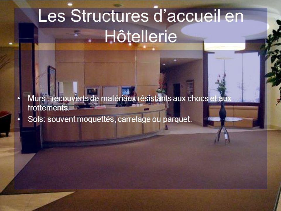Les Structures daccueil en Hôtellerie Murs : recouverts de matériaux résistants aux chocs et aux frottements. Sols: souvent moquettés, carrelage ou pa