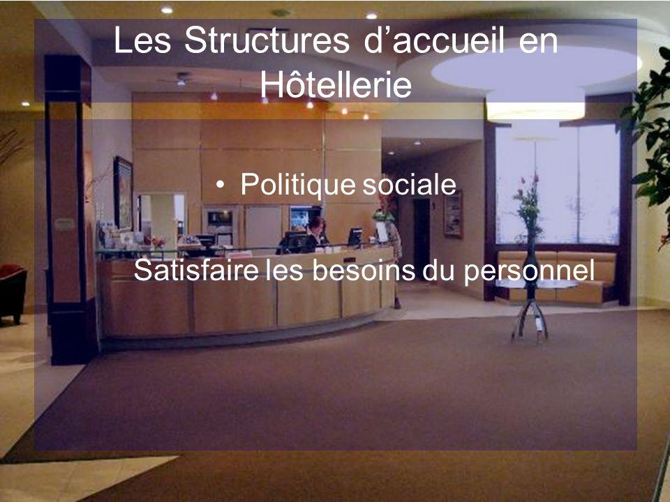 Les Structures daccueil en Hôtellerie Politique sociale Satisfaire les besoins du personnel
