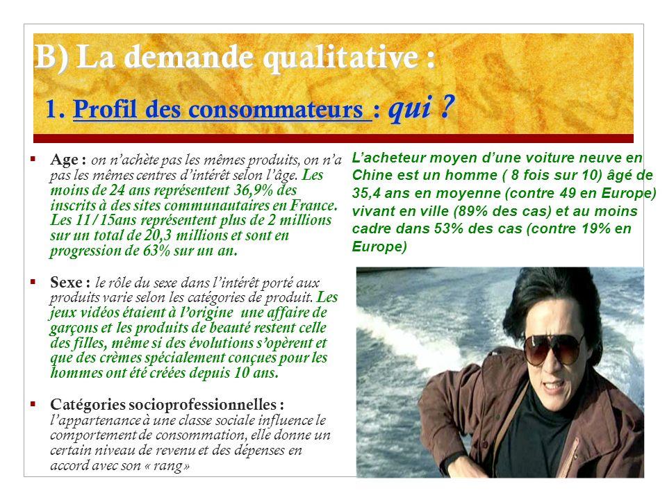 B) La demande qualitative : 2.Goûts des consommateurs : quoi .